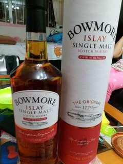 已停止生產,絕版Bowmore 原酒56%威士忌1公升連盒(日版)。