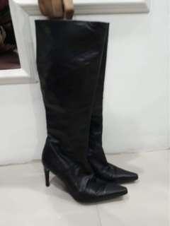 BCBG Knee-length Leather boots heels