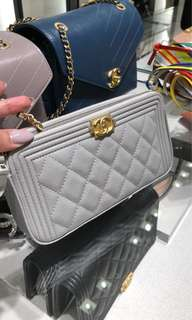 Boy Chanel Wallet on Chain (Light Grey)