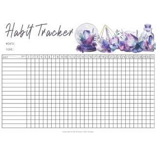 Printable Habit Tracker Planner Bullet Journal A4 A5 Monthly Habit Wellness Anxiety Mood Health Mindfulness Tracking