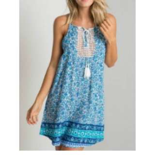 BAJU MURAH Blue Ethnic Halter Dress