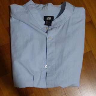 🚚 H&M Manadarin Oriental Collar Short Sleeve Shirt
