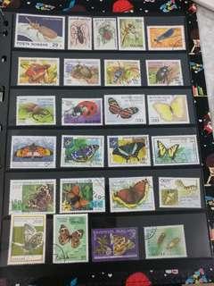 不同國家的昆蟲郵票 (已蓋銷)