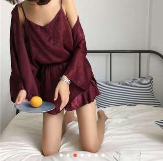 Unused Red Nightwear (camisole+shorts+cardigan)