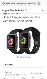 Apple Watch Series 3 - Space Grey Aluminium Case with Black Sport Band  38mm