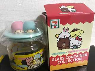 Sanrio Line Friends Little Twin Star Glass Container