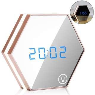 Mirror Makeup LED Alarm Clock