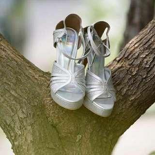 Sepatu high heels silver  Size 38 Tinggi heels 11 cm Baru 2x pakai