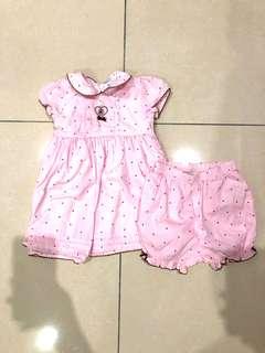 Polka dot pink dress (12 months)