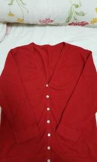 🚚 紅色七分袖針織外套