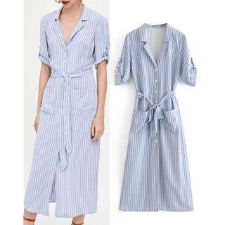 Stripes button dress