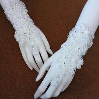 Sarung tangan pengantin (New) Warna putih tulang Dihiasi payet, kristal & bunga