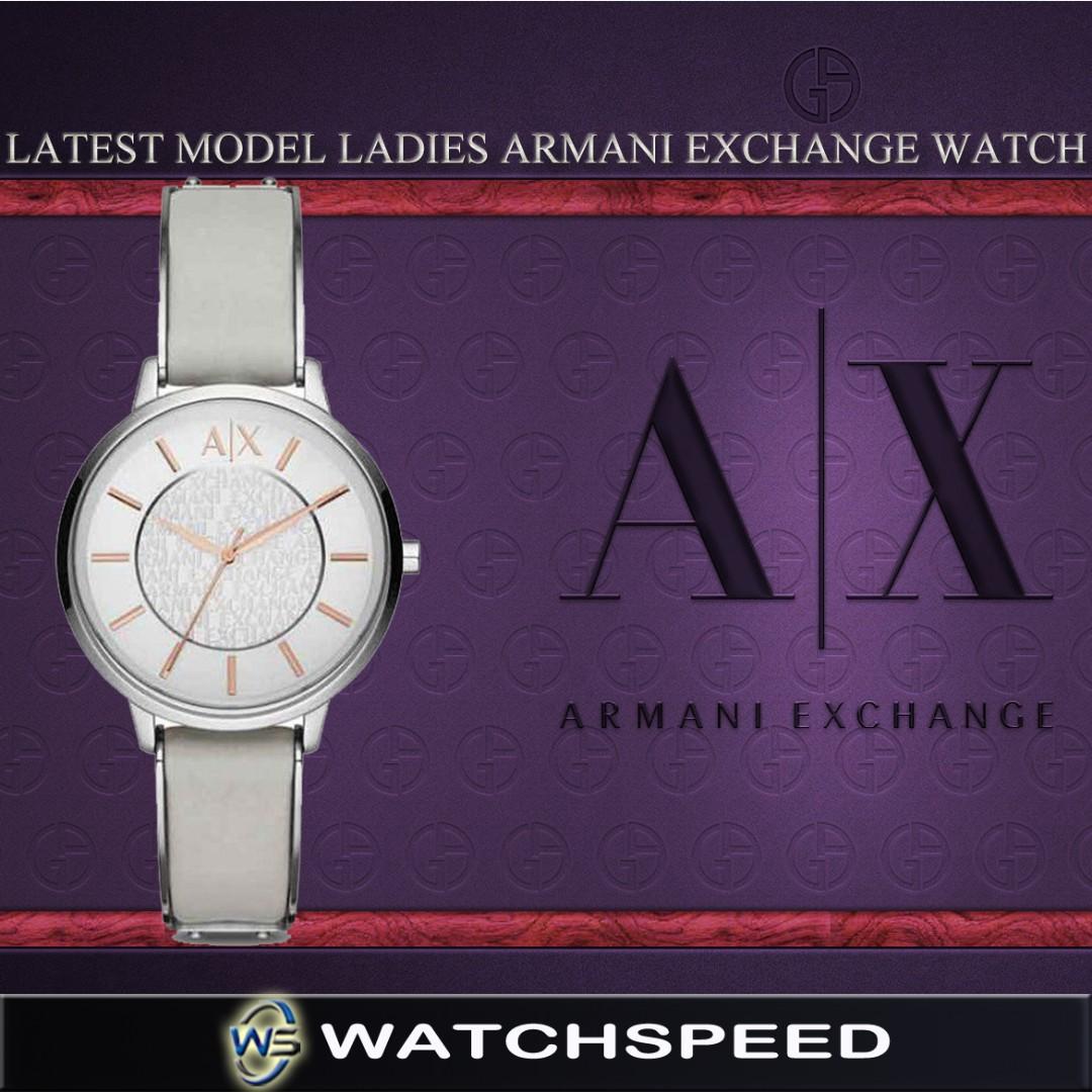 94950e98 Armani Exchange Ladies' Gray Leather Strap Steel Case Watch AX5311