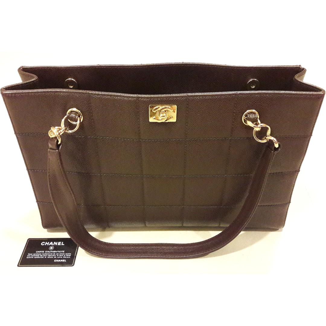 0192af5befe3 Free Gift Included] Authentic Chanel Choco Bar Tote Bag, Luxury ...