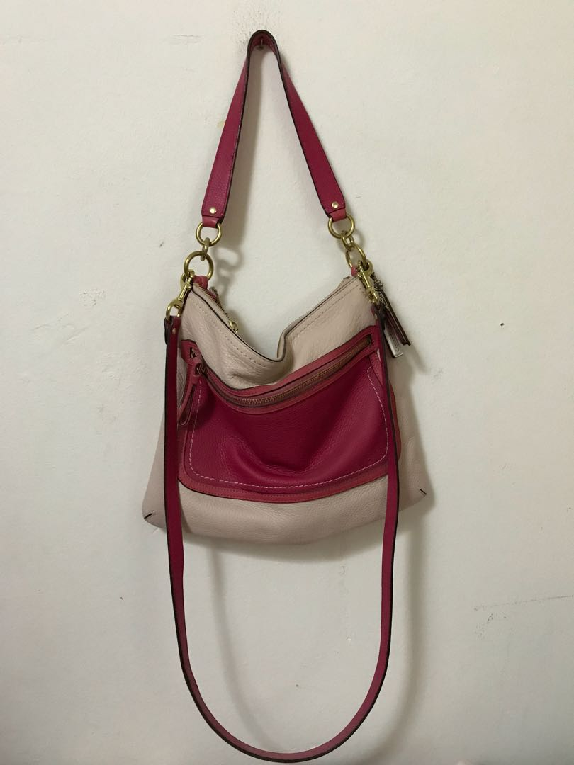 18f0599c13 discount code for coach poppy colorblock perri hippie crossbody 22432 b4  taupe rose leather shoulder bag