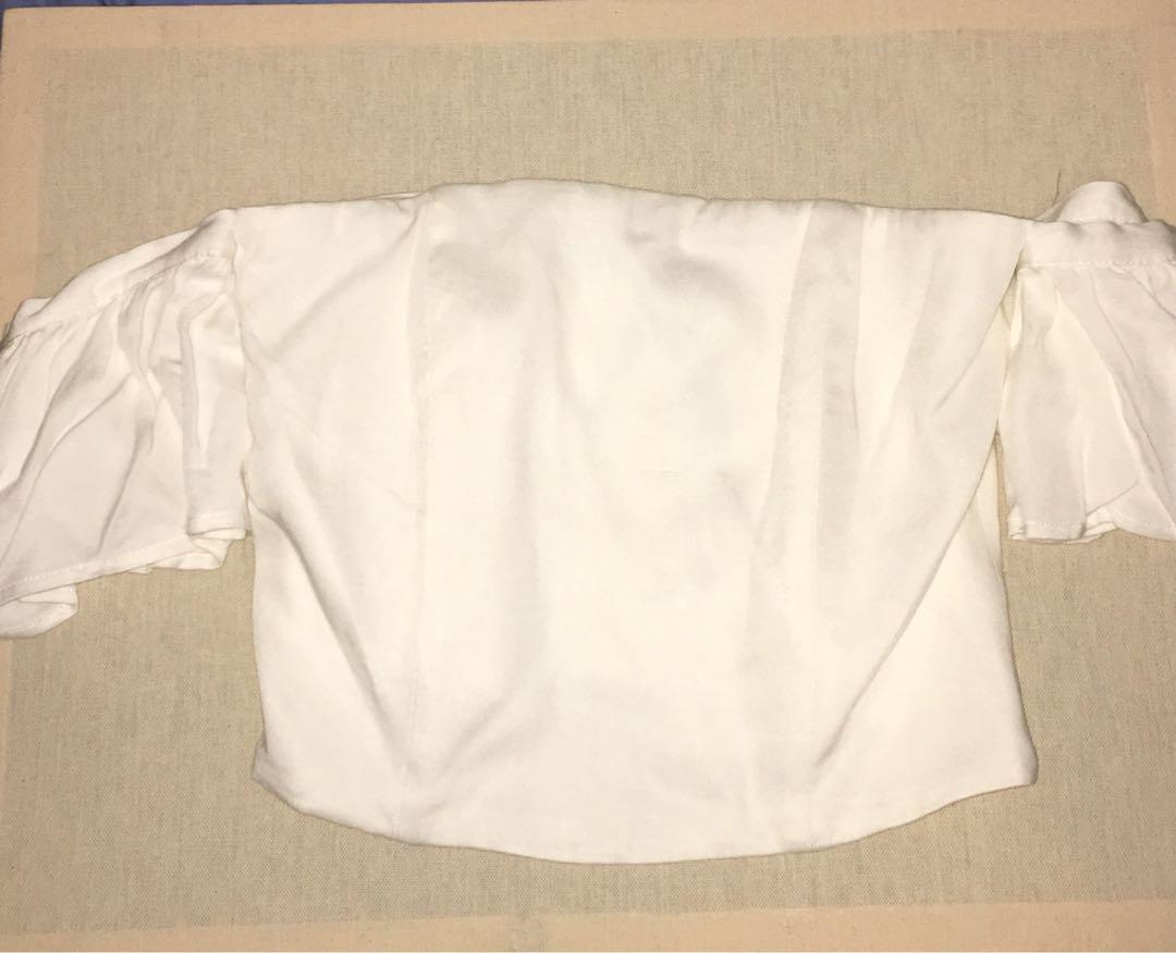 Bardot white off the shoulder with structured boning