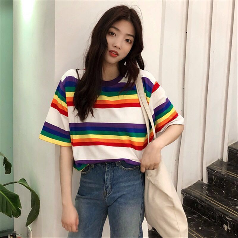 ee39f068b BN] Ulzzang Stripe T-Shirt, Women's Fashion, Clothes, Tops on Carousell