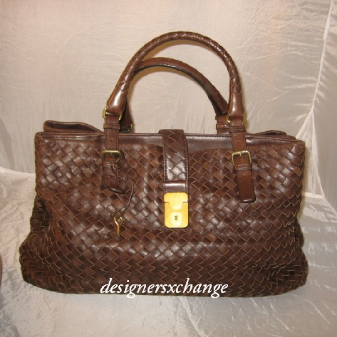 1f92989cc6bcc Bottega Veneta Brown (Expresso) ROMA Intrecciato Tote Bag (with ...