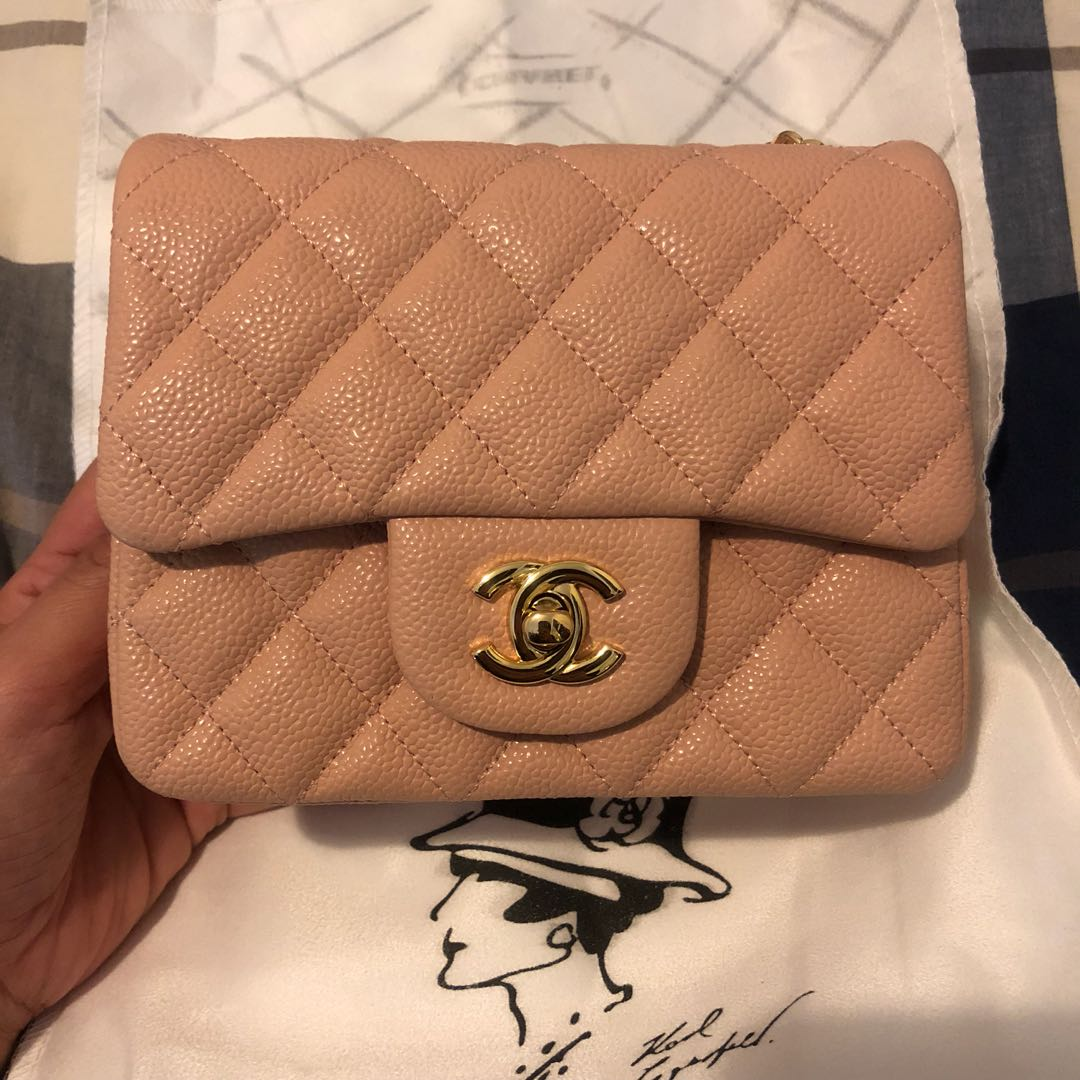 6fa27a5eaa91 Chanel cf caviar mini square Nude PINK, Women's Fashion, Bags & Wallets on  Carousell