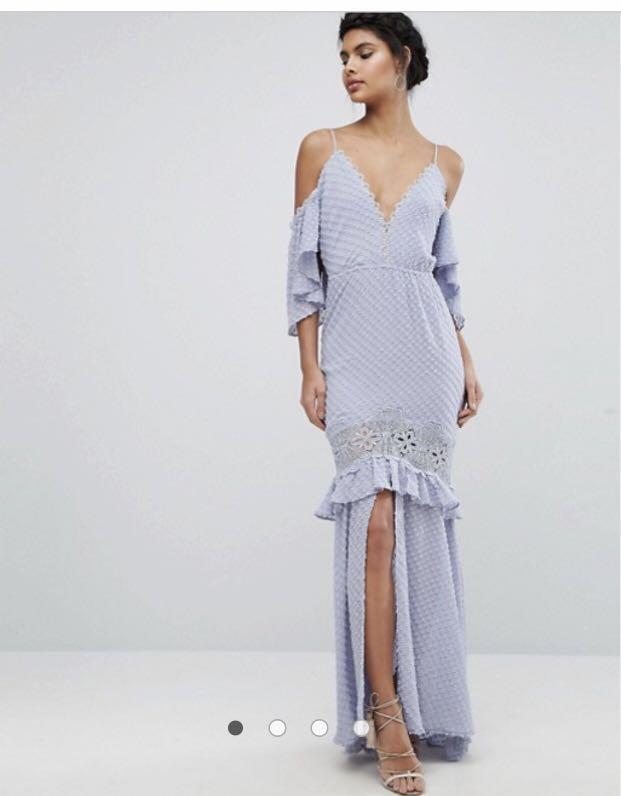 e047a121b4c7e Dark Pink maxi dress with lace inserts
