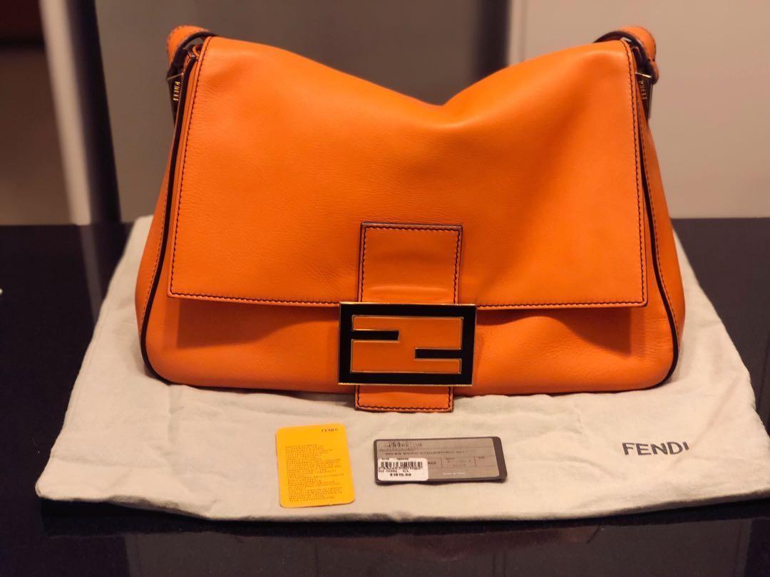722aec4342f1 Fendi Orange Leather Big Mama Shoulder Bag