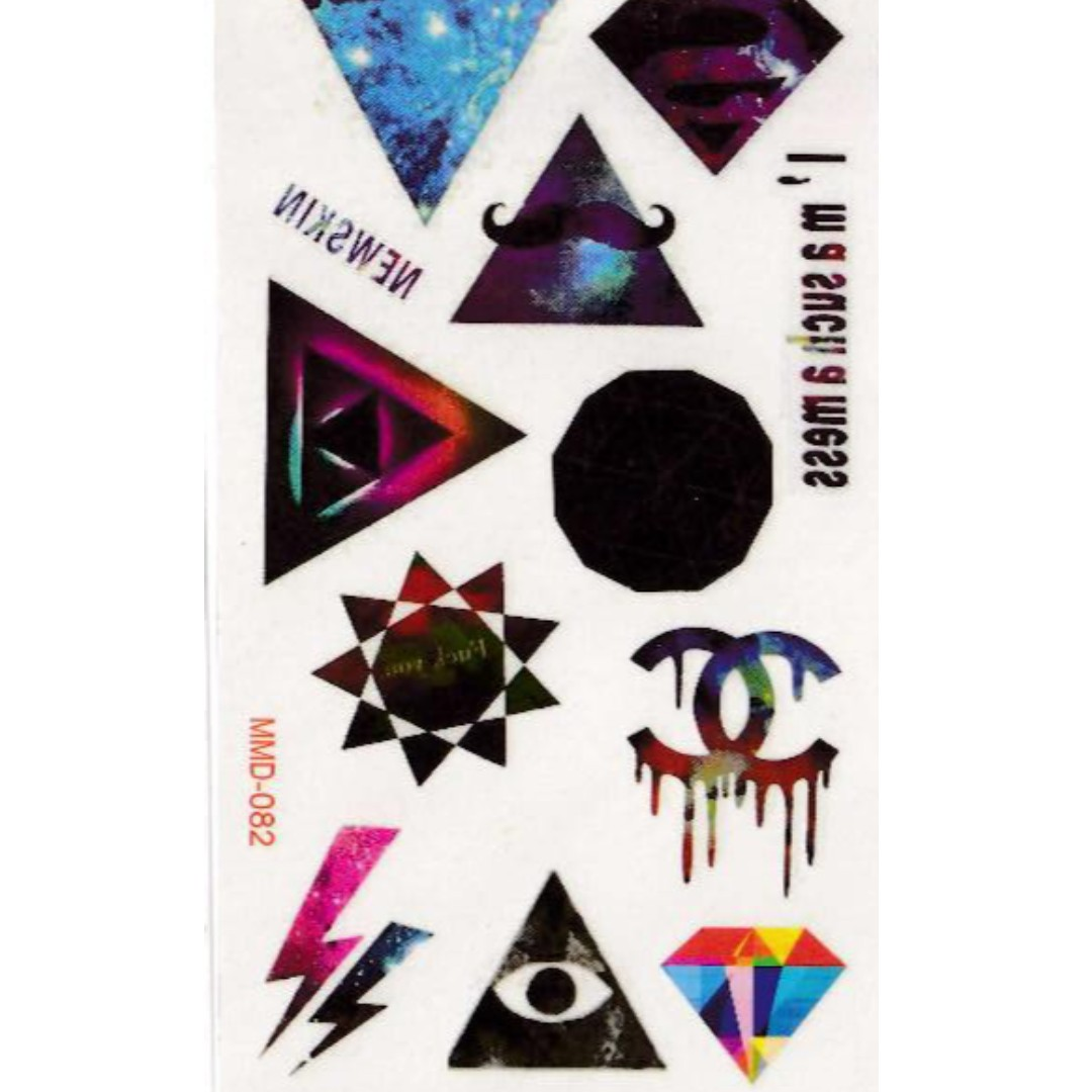 Galaxy Triangles Temporary Tattoos Design Craft Art Prints On