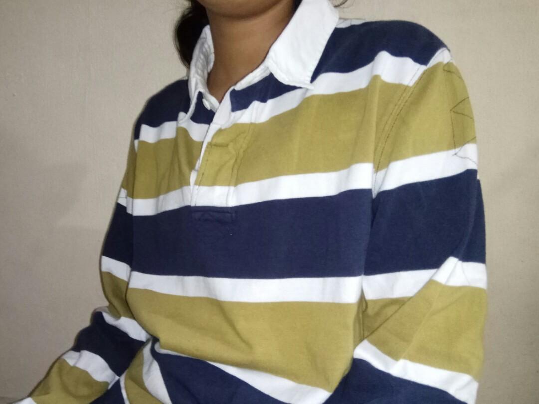 2f80361989b8 INSTOCK  Vintage Polo Stripe Long Sleeved Collar Top