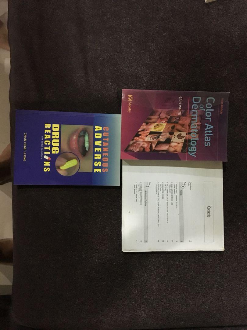 Internal medicine textbooks, dermatology, cardiology, MRCP