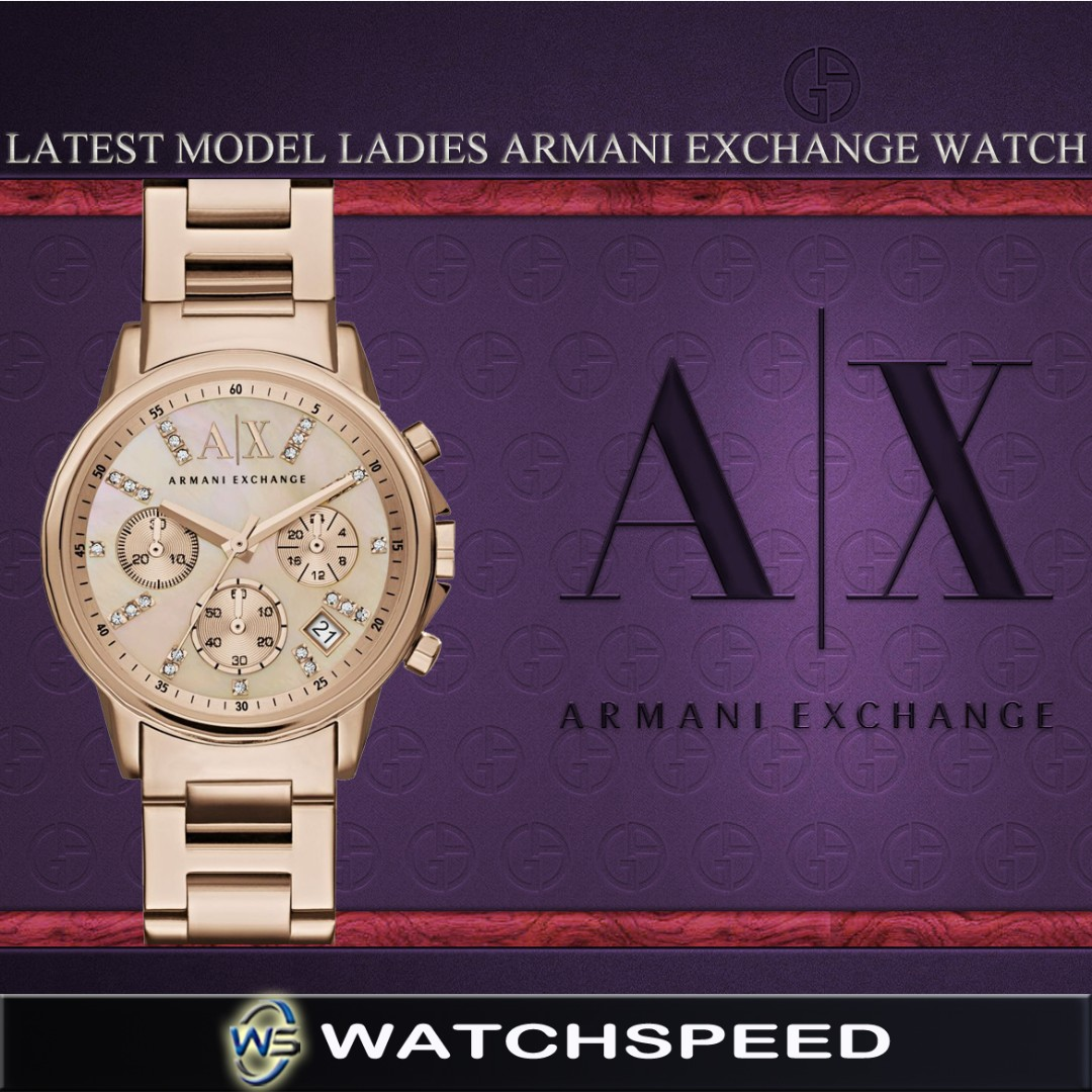 e15ce3031 LATEST* Armani Exchange Ladies' Chronograph Swarovski Stone Indexes ...