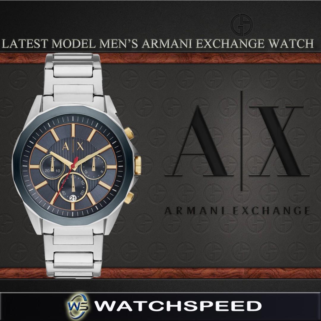adfda4409 LATEST* Armani Exchange Men's Chronograph Navy Blue Dial Gold Tone ...