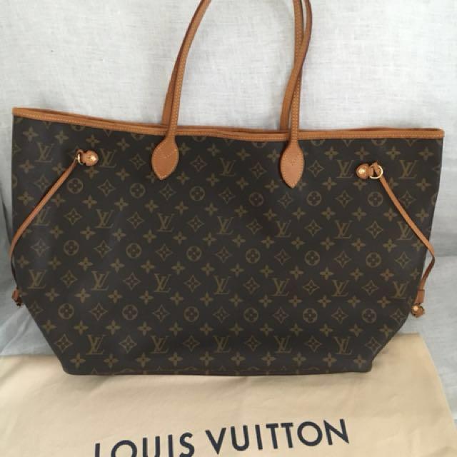 238892c78e Louis Vuitton Neverfull Monogram Canvas Tote Bag (GM  Large)