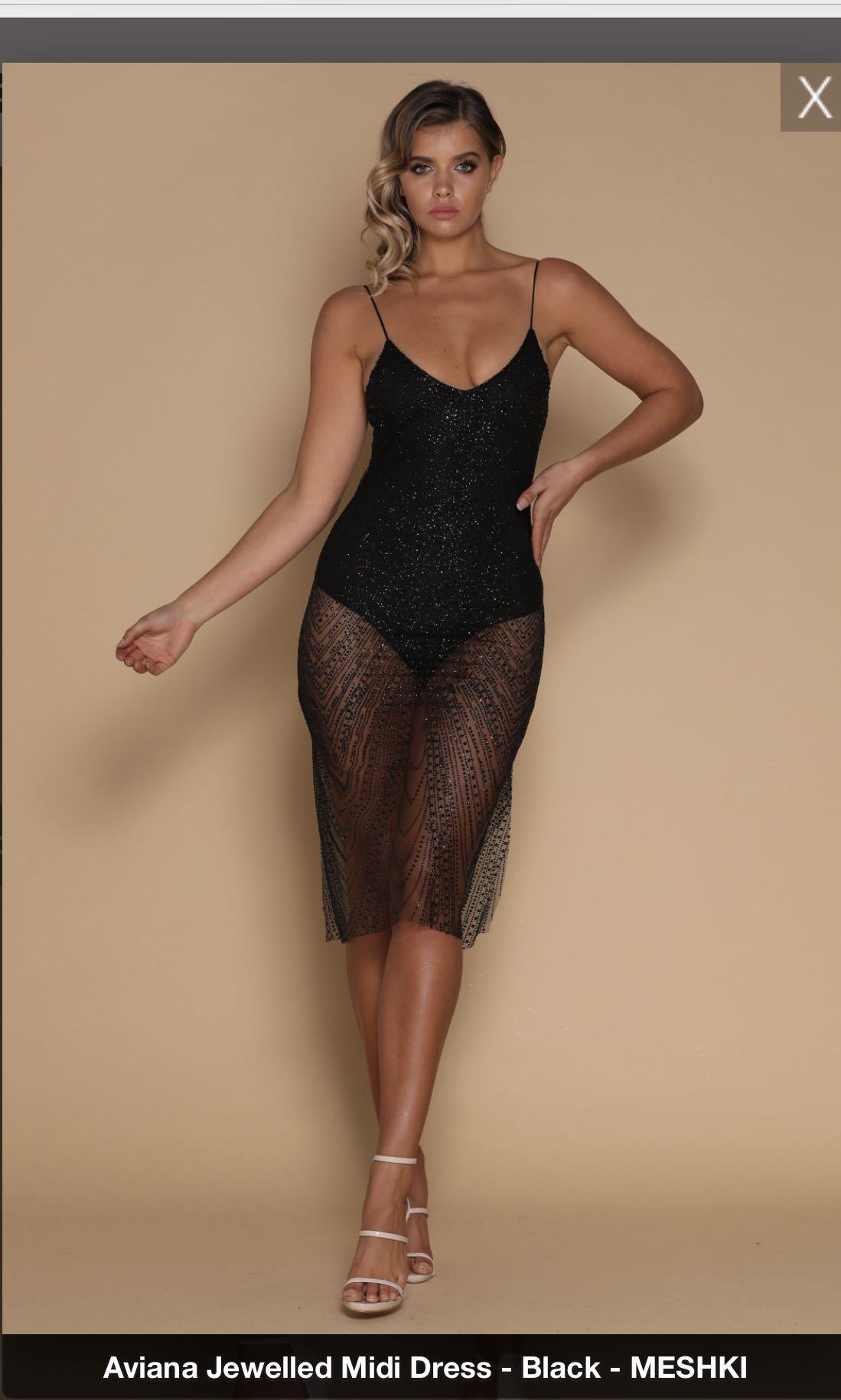 ead01e8d040e Meshki Aviana Jewelled Mini Dress, Women's Fashion, Clothes on Carousell