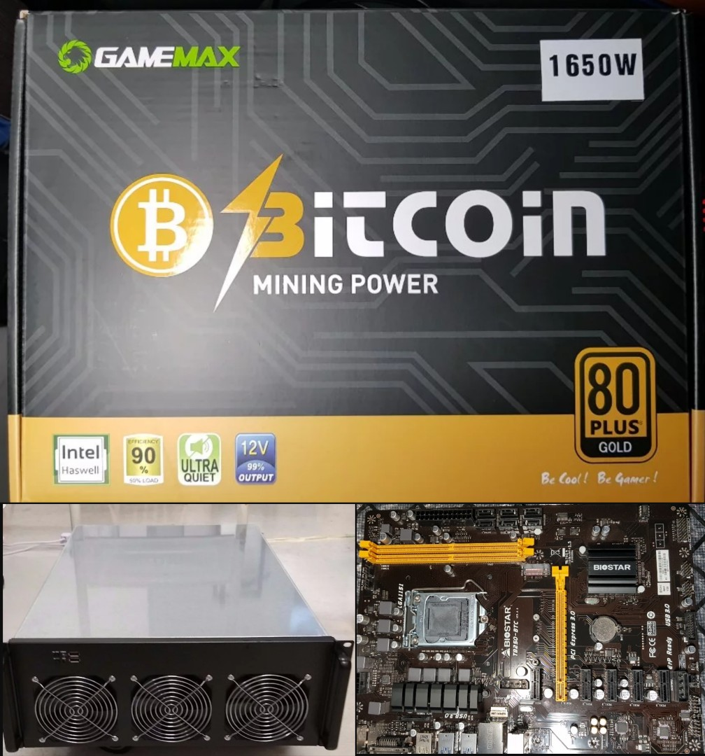 Mining Parts Bundle 4u Server Case Biostar Tb250 Btc 1650 Watts Mobo Photo