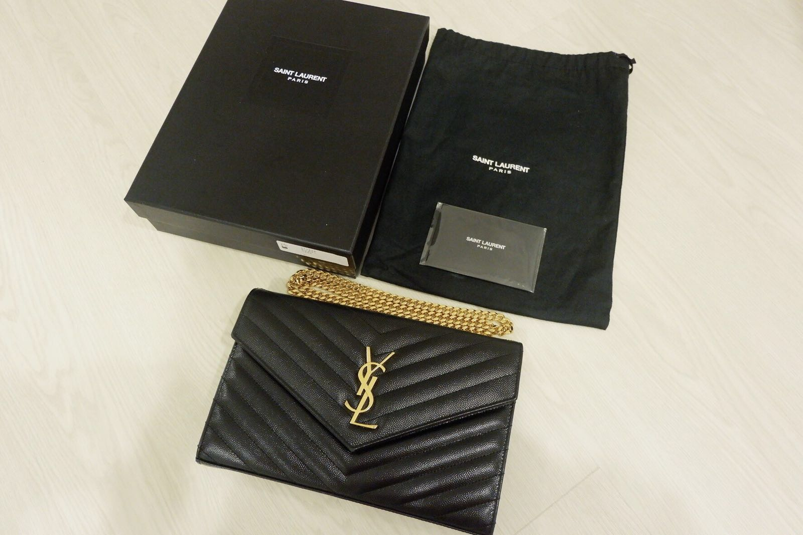 03b6ba8afd Monogram Saint Laurent Chain Wallet In Black Grain YSL WOC, Luxury ...