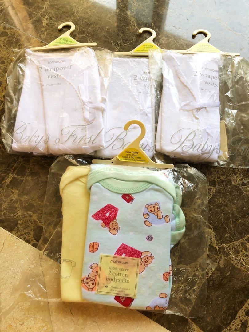 Mothercare Short Sleeve 2 Cotton Babysuits 3 Wrapover Vests Bayi