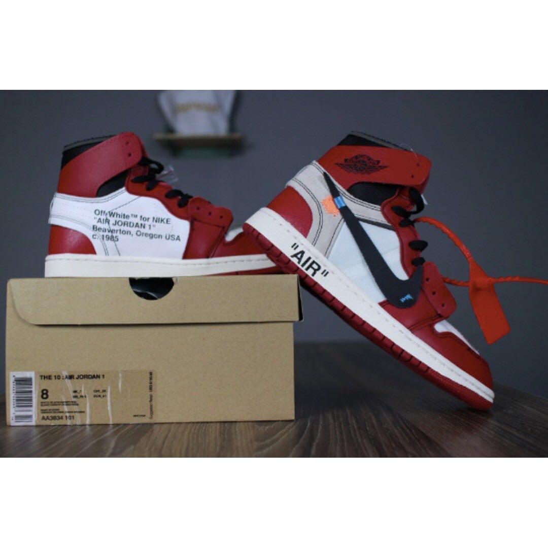 4f4a4cb841b Nike Air Jordan 1 X Off White AJ1, Men's Fashion, Footwear, Sneakers ...
