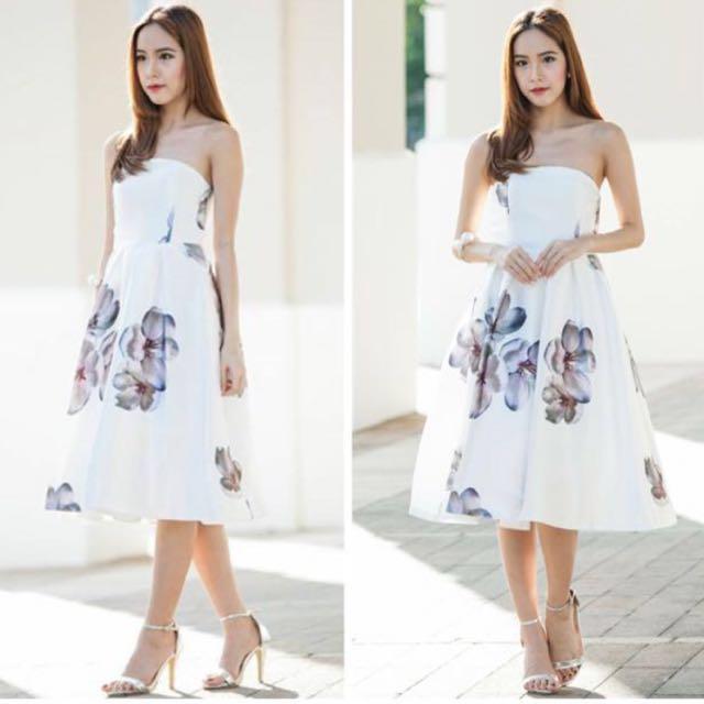 b4363159df Ohvola Navy Satin Floral Tube Dress