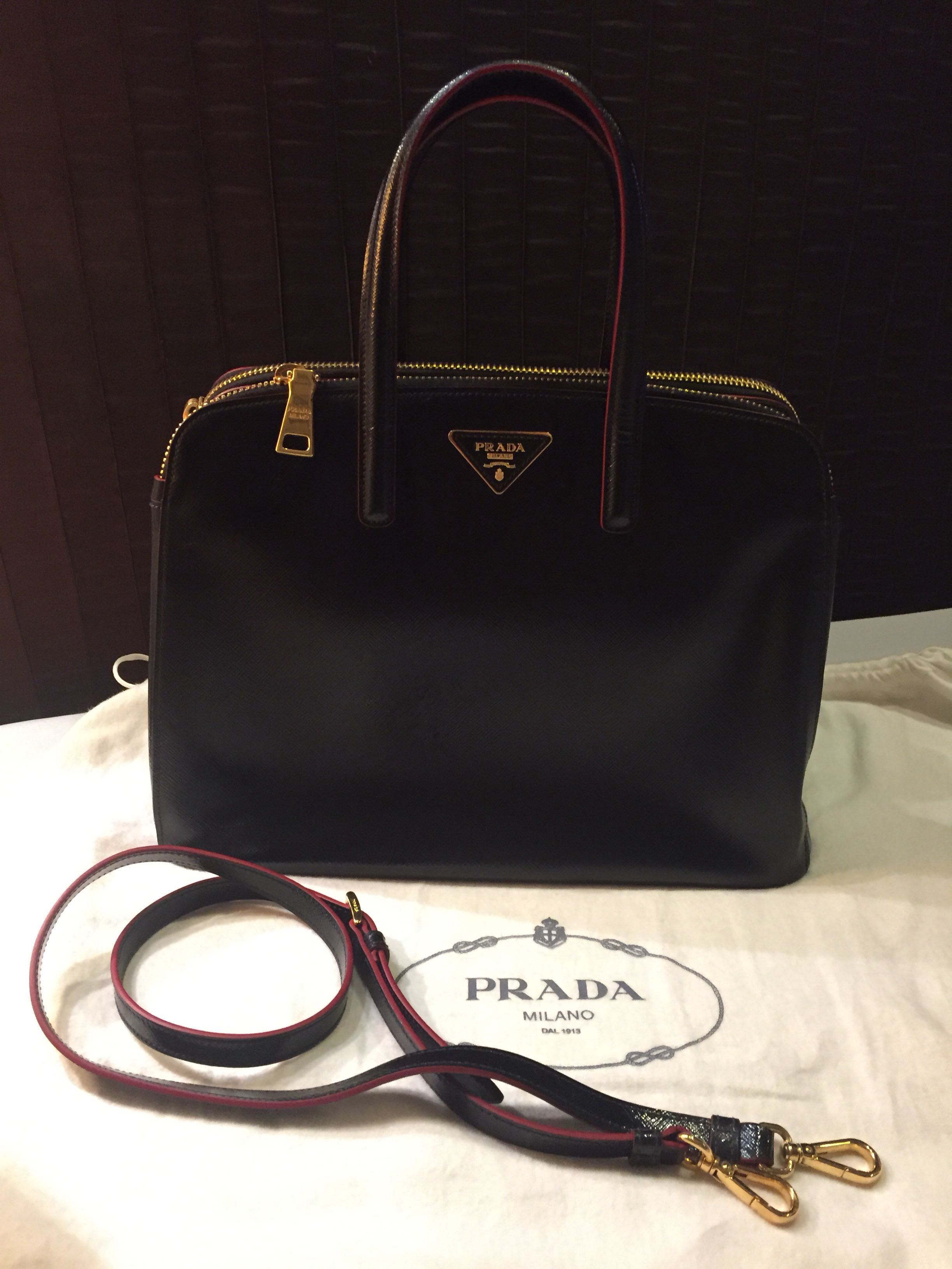 889b4 73000  sweden prada double zip tote bag with detachable strap womens  fashion e90bb e826d a97354d9bb0ca