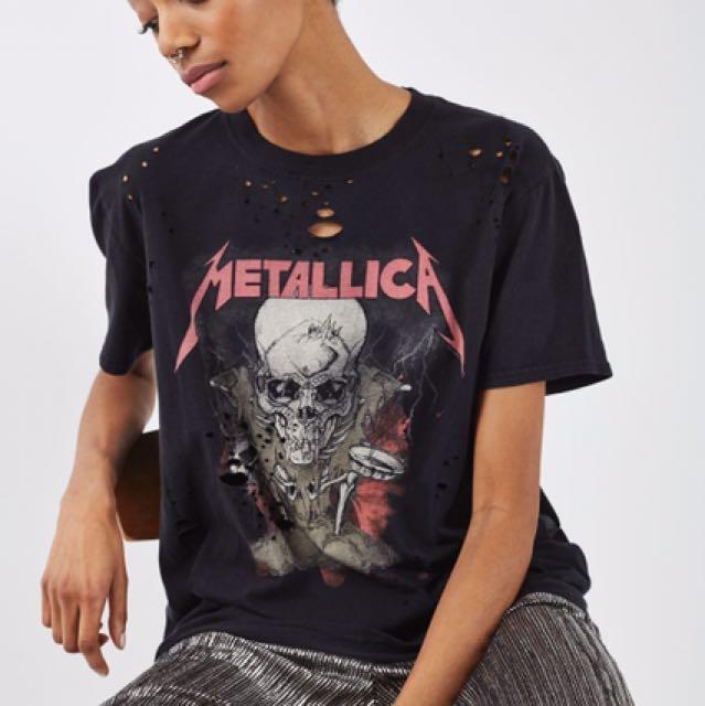 Topshop TeeWomen's Nibbled FashionClothesTops Metallica Band lFJ3TK1c