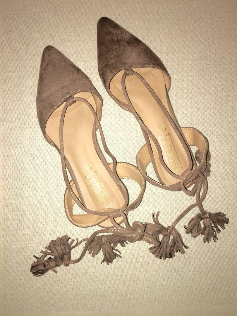 Truffle Collection Taupe Faux Suede Sandals