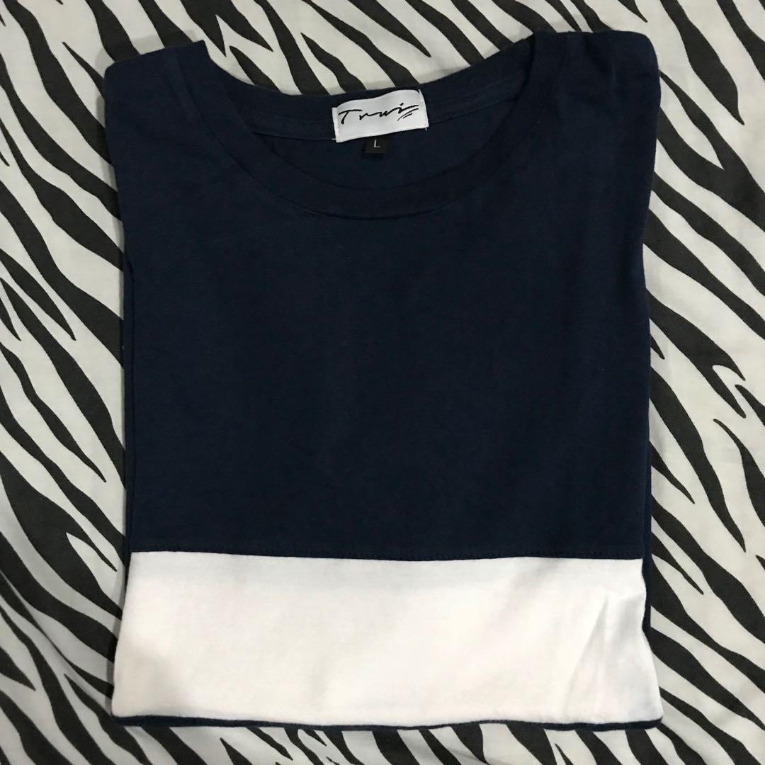 Basic Trui.Trui Basic Stripe Tshirt Navy White Size L Men S Fashion Men S