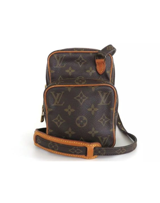 35886b40a083  VINTAGE  Authentic Louis Vuitton Monogram Canvas Leather Mini Amazon Cross  Body Bag