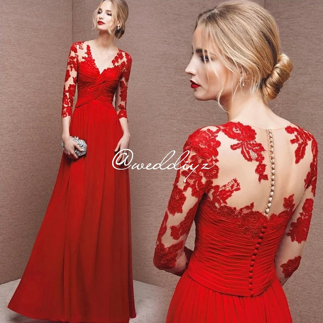 Wedding Red Gown Tea Ceremony Dress Classy Simple Wedding Day Women S Fashion Clothes Dresses Skirts On Carousell