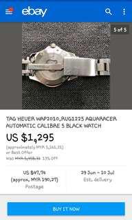 Tag Heuer Aquarace Sapphire watch