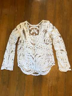 Embroidered sheer lace top
