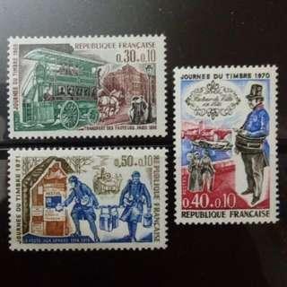 [lapyip1230] 法國 1969-1971年 郵票日 新票全套 × 3 MNH