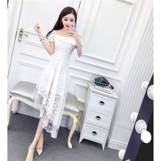 🚚 2018 new summer word shoulder lotus leaf in the long section was thin Slim high waist irregular lace dress