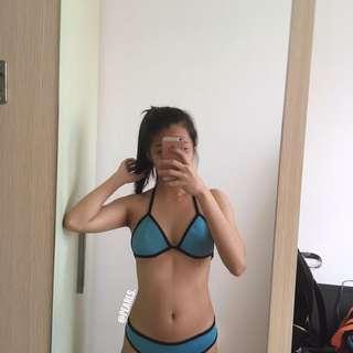 triangl turquoise bikini set