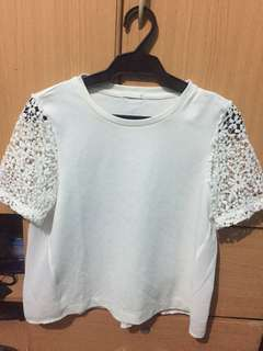 White Tee with lace sleeves