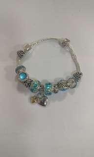 仿Pandora 藍色琉璃珠手鍊